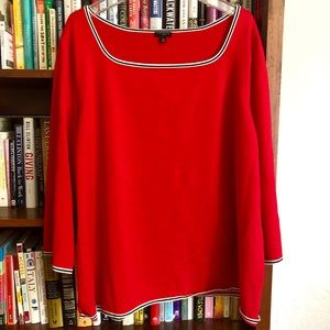 Talbots cherry red sweater w/pearl sleeve detail